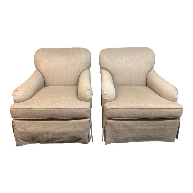 Baker Furniture English Rolled Arm Chairs- a Pair For Sale