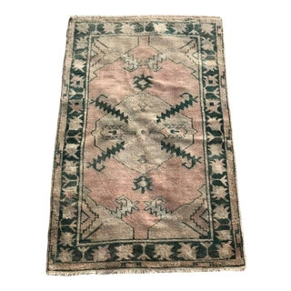 "Hand Made Vintage Tribal Turkish Runner Rug With Greens and Peach 2'9""x4'2"" For Sale"