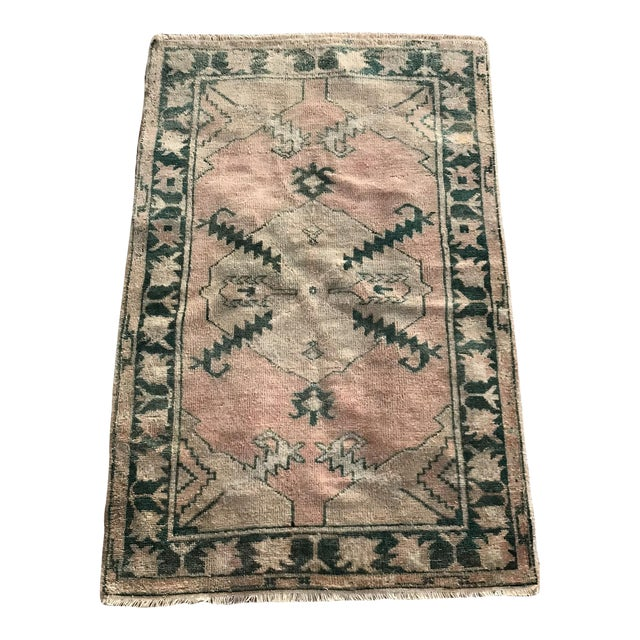 """Hand Made Vintage Tribal Turkish Runner Rug With Greens and Peach 2'9""""x4'2"""" For Sale"""