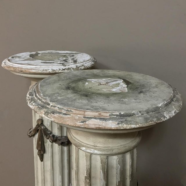 Pair 19th Century French Louis XVI Painted Pedestals For Sale - Image 9 of 13