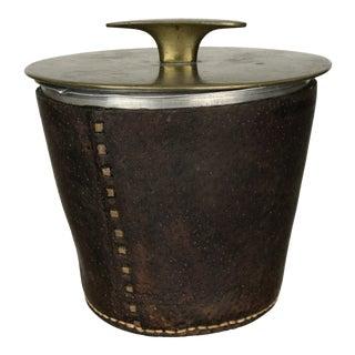 Modernist Carl Auböck II Tobacco Tin, Model 3617 Brass & Leather 1940s For Sale