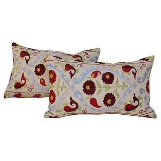 Suzani Embroidered Pillows - A Pair For Sale