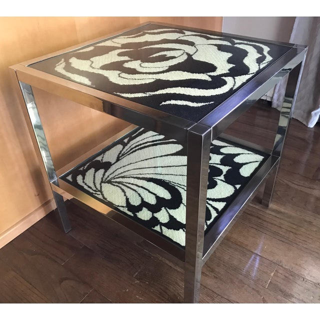 Mastercraft Chrome and Custom Pucci Style Needlepoint 1960's Side Table - Image 3 of 9