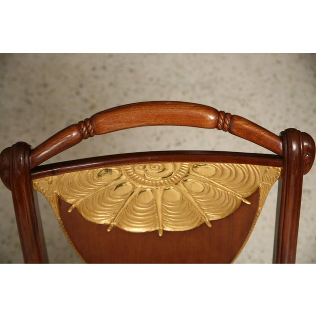 Gold Set of Four Art Deco Side Chairs by Pierre Lahalle, France For Sale - Image 8 of 9