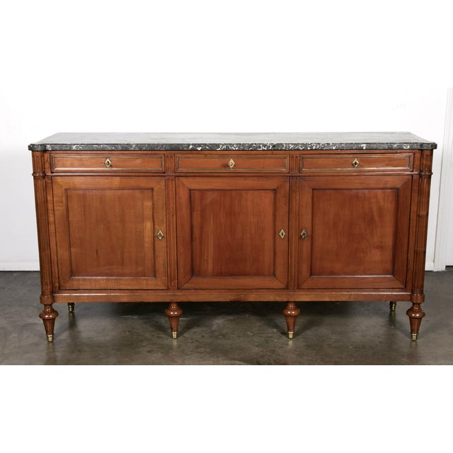19th Century Louis XVI Walnut Enfilade with Marble Top - Image 4 of 11