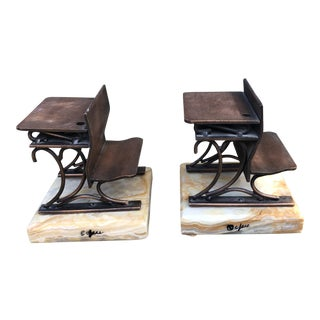Vintage MCM Curtis Jere Early American Copper Marble School Desk Bookends - a Pair
