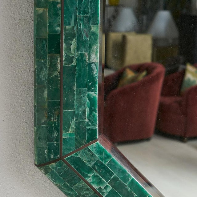 Tessellated Green Marble Mirror by Maitland Smith For Sale In Chicago - Image 6 of 7