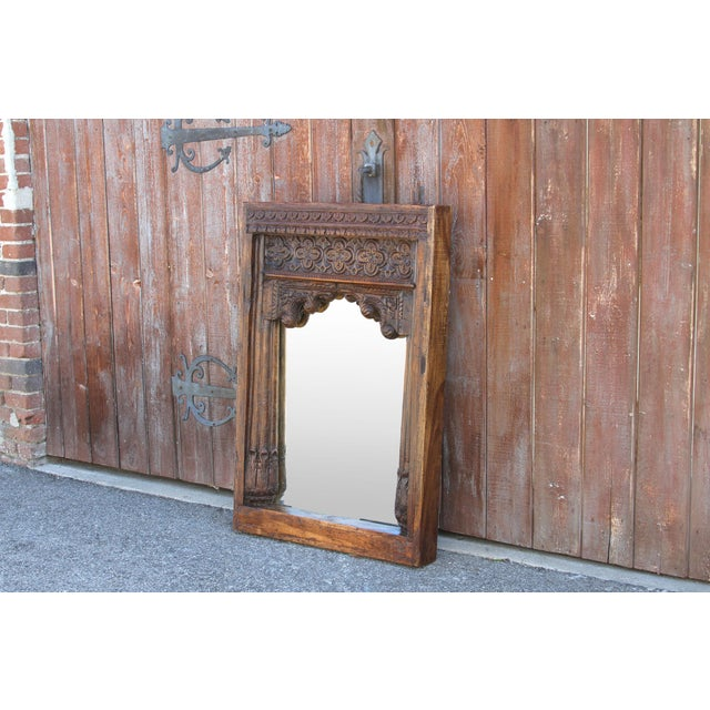 Anglo-Indian Beautiful Old Hindaun Jarokha Carved Mirror For Sale - Image 3 of 11