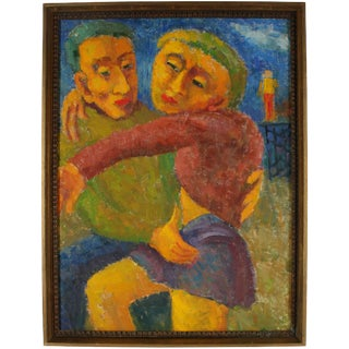 """Jennings Tofel """"Man and Woman"""" Expressionist Couple, Oil Painting, 1955 1955 For Sale"""