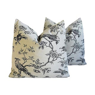 "Chinoiserie Exotic Birds Feather/Down Pillows 24"" Square - Pair"