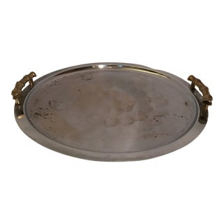 Brass Faux Bamboo Handle Drinks Tray For Sale