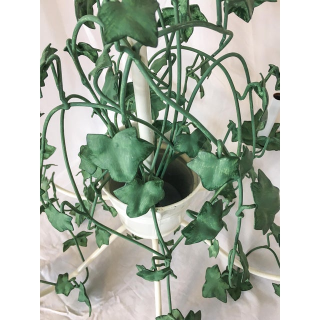 Italian Tole Ivy Basket Six-Arm Chandelier For Sale - Image 4 of 8