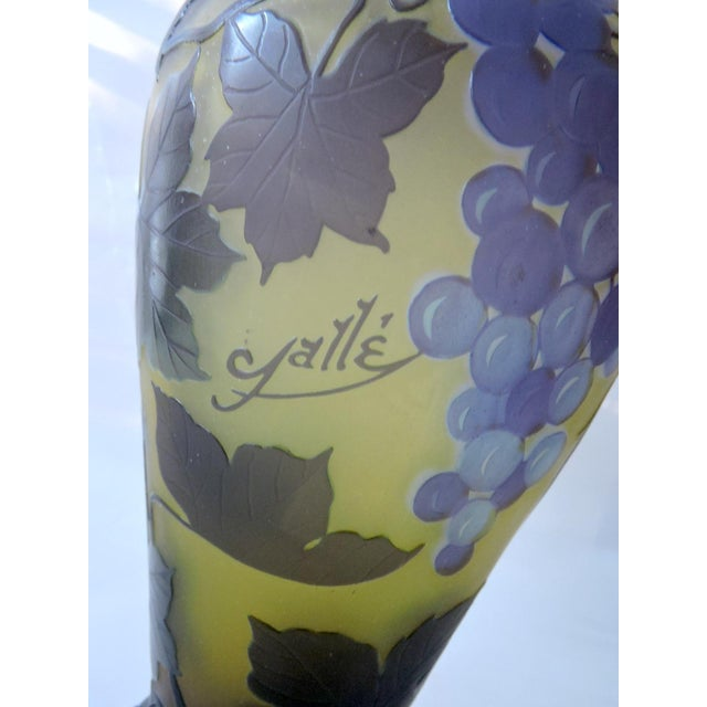 'Galle' Style Vine & Grape Glass French Vase For Sale In Tampa - Image 6 of 6