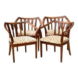 Rare 1960s John Keal Walnut Chairs for Brown Saltman For Sale
