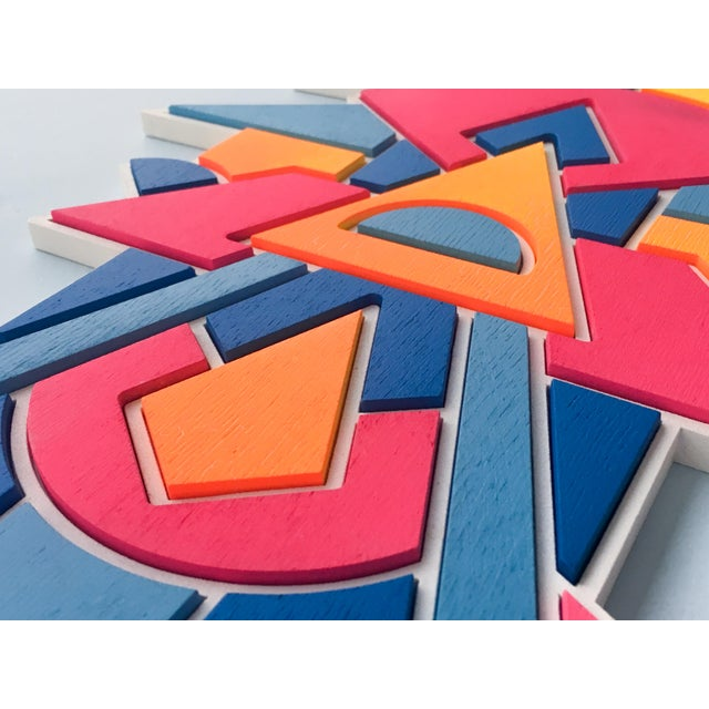 Chad Wentzel Contemporary Pink Blue & Orange Artist Proof Puzzle by Chad Wentzel Made For Sale - Image 4 of 6