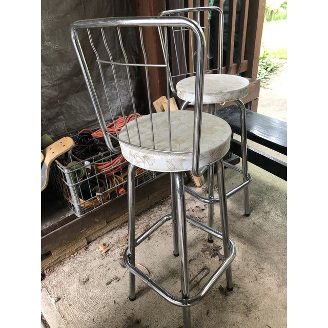 Metal Mid Century Chrome Bar Stools- a Pair For Sale - Image 7 of 9