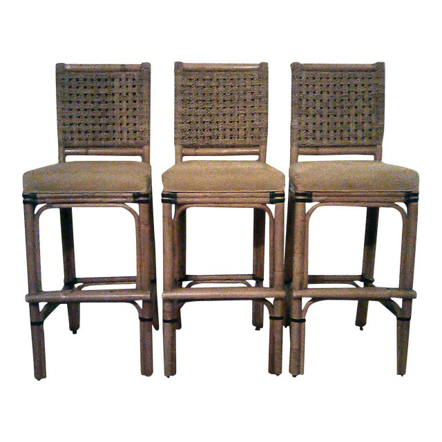 Palecek Bamboo, Leather and Jute Barstools- Set of 3 For Sale