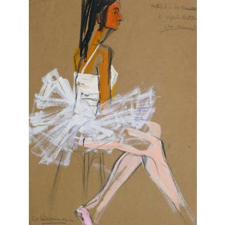 G. Lahousse, Vintage French Gouache - Ballerina in White For Sale