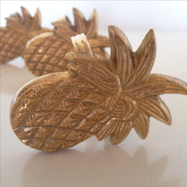 Vintage Brass Pineapple Napkin Rings - Set of 4 - Image 2 of 4