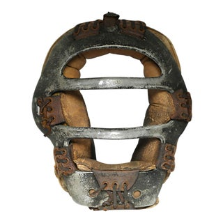1940s Steel and Leather Catcher's Mask For Sale