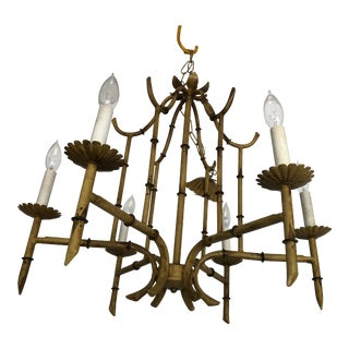 Vintage Tole Bamboo Asian Chinoiserie Pagoda Style Chandelier For Sale