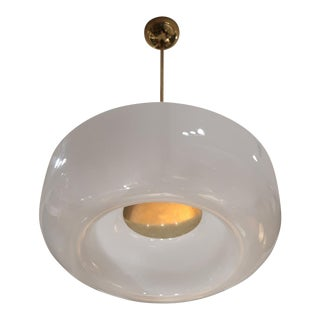 A Brass and Opaline Ceiling Lamp, Italy 60'