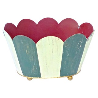 Vintage Tole Scalloped Cachepot For Sale