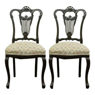 Antique Victorian Carved Mahogany Lyre Back Accent Side Chairs - a Pair For Sale
