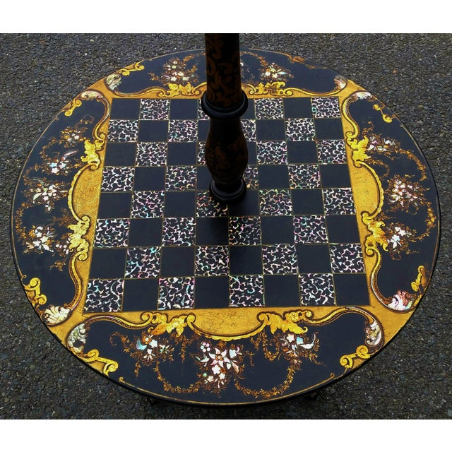 Antique ENGLISH Black Laquered PAPER MACHE Mother of Pearl LAMP TABLE Chess For Sale - Image 5 of 10