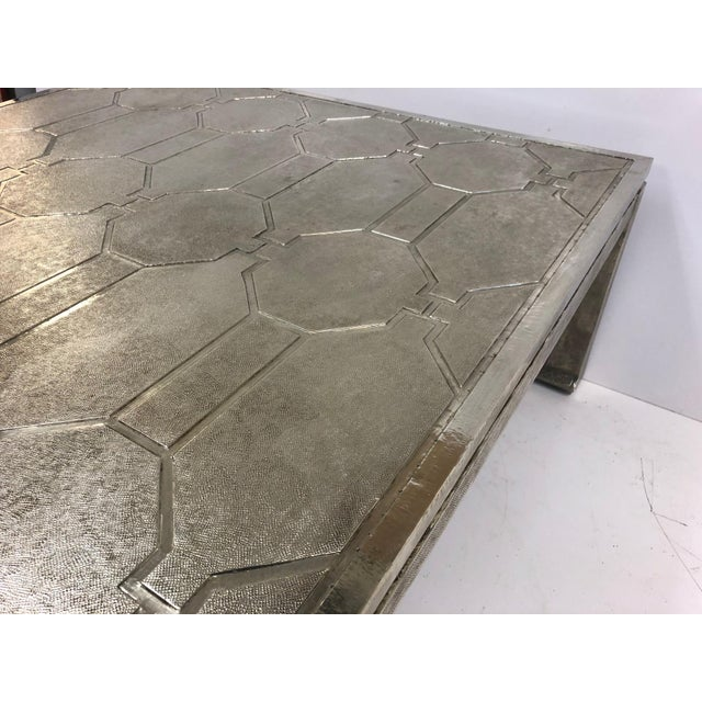 1970s Modern Silver Clad Coffee Table For Sale In New York - Image 6 of 7