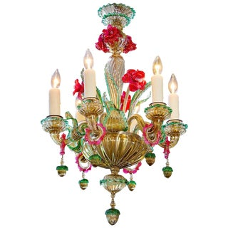 Vintage Pink and Green Floral Motif Murano Glass Chandelier For Sale
