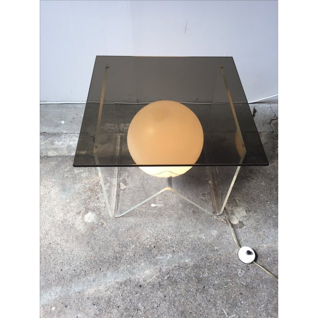 Mid-Century Modern Vintage Lucite and Smoky Glass Lighted Table For Sale - Image 3 of 6