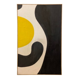 Mid 20th Century Modern Abstract Black, White and Yellow Oil Painting, Framed For Sale