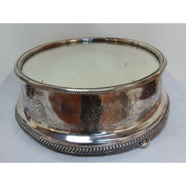 19th C English Silver Plate Mirror Topped Plateau - Image 2 of 5