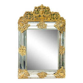 19th C. French Mirror With Gilt Metal Accents For Sale