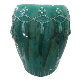 Emerald Green Glazed Garden Seat For Sale