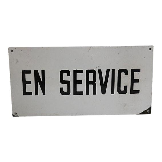 "Vintage French Industrial ""In Service"" Sign For Sale"