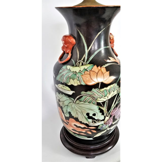 Mid-Century Modern Vintage Chinese Porcelain Famille Noire Lamp For Sale - Image 3 of 12
