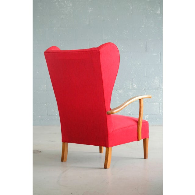 Danish Midcentury Wingback Lounge Chair Attributed to Fritz Hansen For Sale - Image 4 of 10