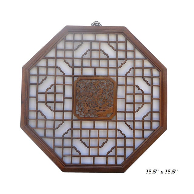 Chinese Octagonal Bird Scene Wood Wall Decor - Image 5 of 5
