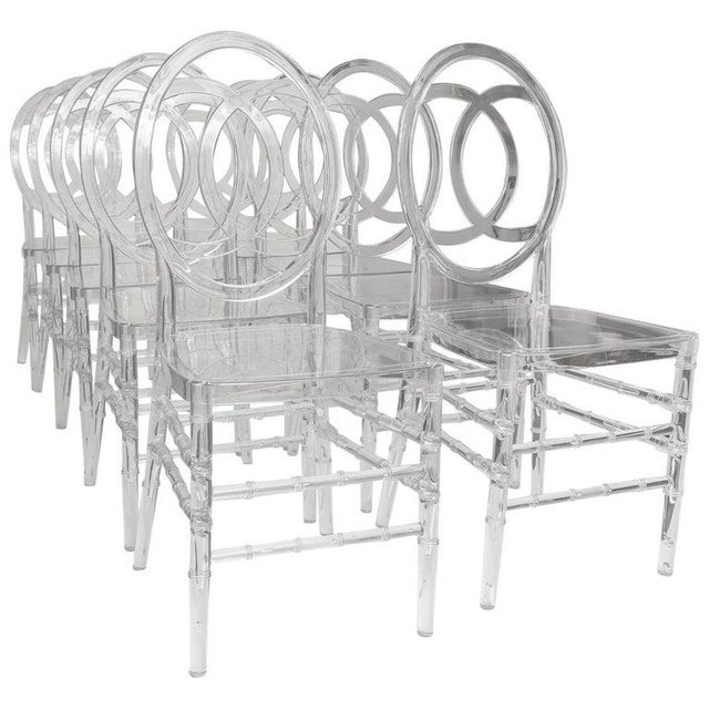 Lucite Stacking Chairs Faux Bamboo Hollywood Regency - Set of 10 For Sale - Image 13 of 13