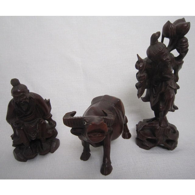 Asian Chinese Rosewood Figures - Set of 3 For Sale - Image 3 of 7