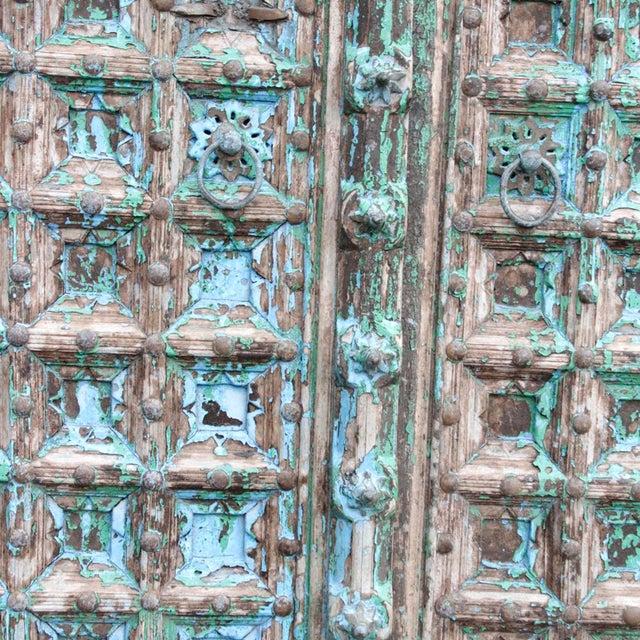Teak & Iron Turquoise Doors - a Pair - Image 7 of 7