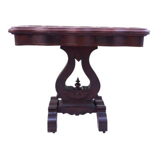 Antique 19th Century American Empire Flamed Mahogany Game Card Table For Sale