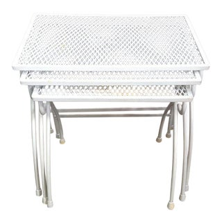 Woodard Steel Mesh Outdoor/Patio Nesting Tables - Set of 3 For Sale