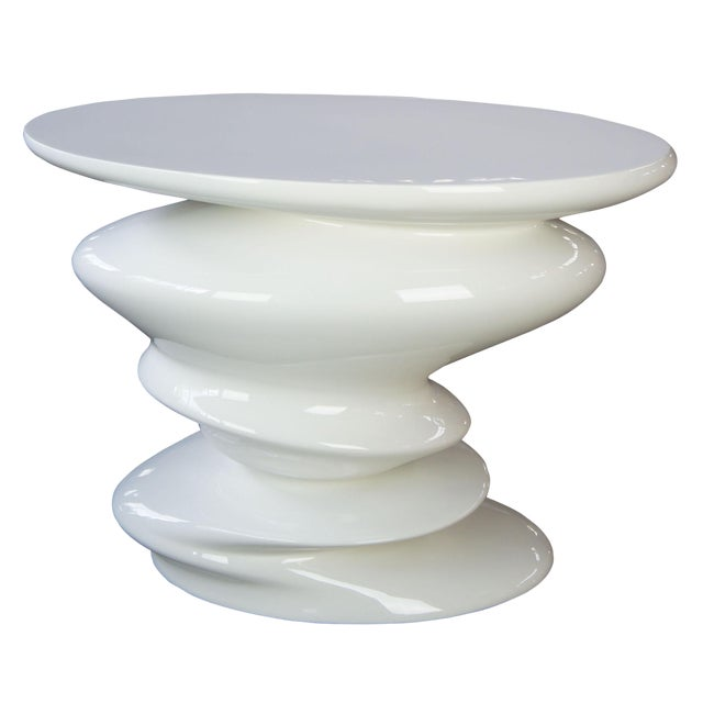 Contemporary Roche Bobie Cédric Ragot Sismic White End Table For Sale