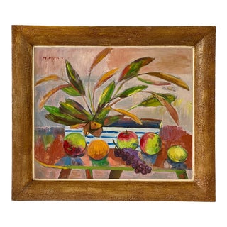 Midcentury Botanical Still Life Painting For Sale