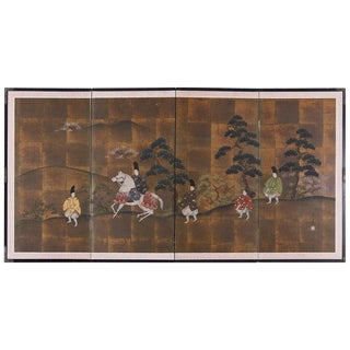Japanese Four Panel Showa Period Narrative Tale Screen For Sale