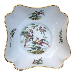 Limoges France Exotic Birds Gold Rim Square Bowl