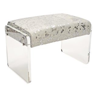 "Navy Hair-On-Hide Samantha 24"" Footstool For Sale"